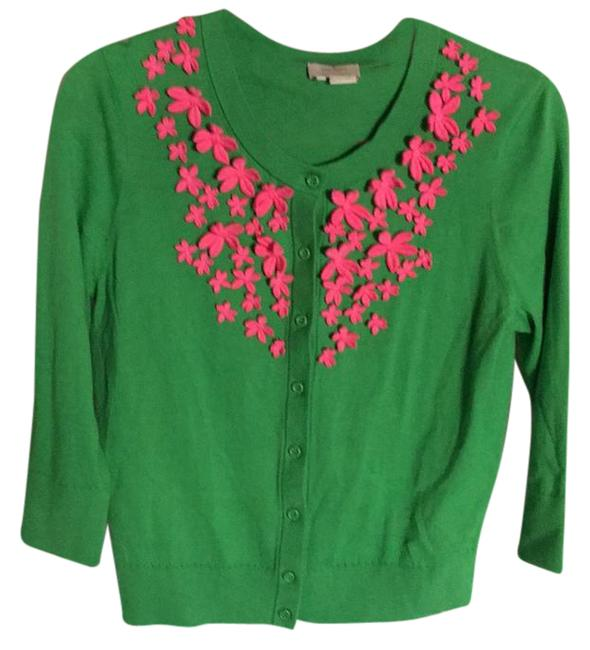 Preload https://img-static.tradesy.com/item/21202516/kate-spade-green-pink-flower-neckline-medium-sweaterpullover-size-8-m-0-1-650-650.jpg