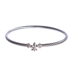 David Yurman Cable Collectibles Fleur-de-Lis Bracelet with Diamonds 3mm Sz M NEW