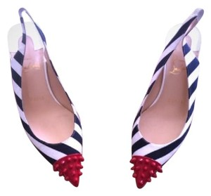 Christian Louboutin Navy Blue & White Stripe Pumps