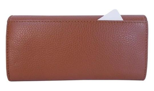 Michael Kors Fulton Slim Flap Wallet Clutch Checkbook NWT Luggage Leather