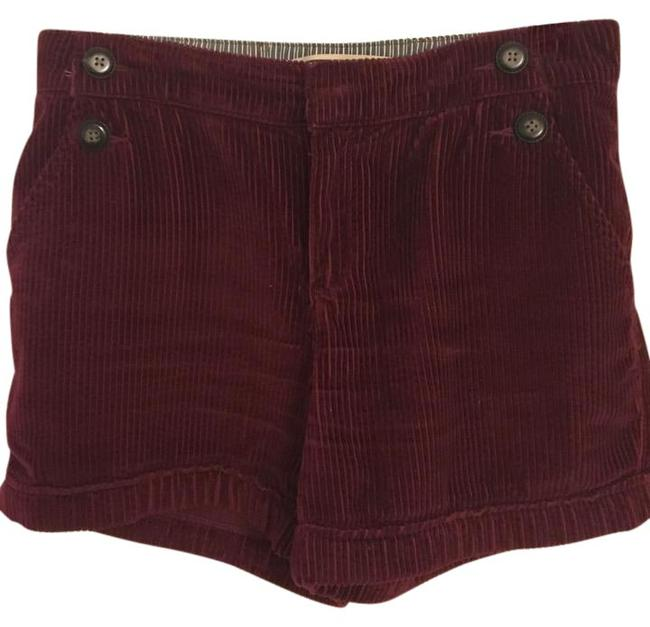 Anthropologie Corduroy High Waisted Cord Cuffed Shorts maroon