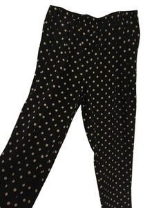 Forever 21 Polka Dot Leg Loose Silk Straight Pants black