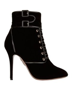 Aquazzura Velvet Heels Lace-up Black Boots