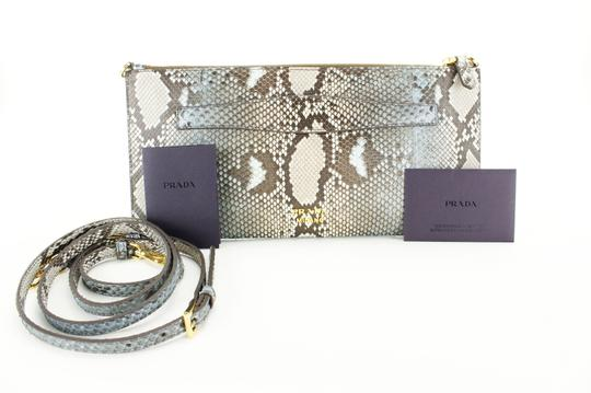 Prada Women Bags Leather Brown, Blue Clutch