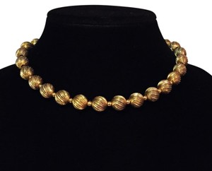MONET vintage textured gold ball bead choker early necklace by Monet