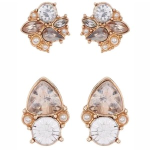 BaubleBar Gold tone pearl crystal twinkle stud earrings set of 2