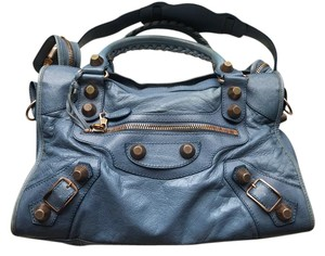 Balenciaga Vintage Studded Rose Gold Blue Satchel in Bright blue