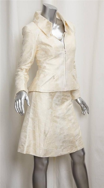 Chanel 01P Womens Cream Cotton Silk Jaquard Blazer A-Line Skirt Suit Outfit