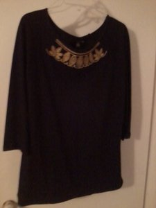 eShe Embellished Gold Tee Size 1x Top Black