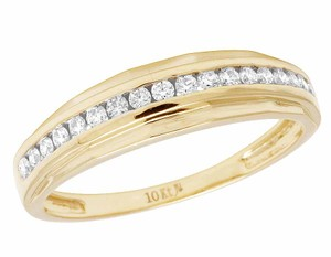 Other 10K Yellow Gold Real Diamond Channel One Row Wedding Band Ring 1/2 CT