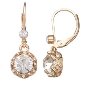 Juicy Couture Gold tone faux crystal drop earrings