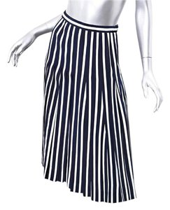 Chanel Pleated Striped Skirt navy