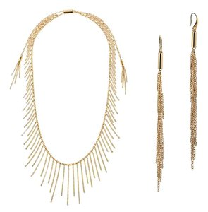 Michael Kors Michael Kors Gold-tone Fringe Necklace and Earrings SET