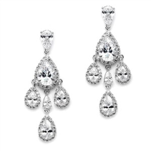 Silver/Rhodium Brilliant Crystal Petite Chandelier Earrings
