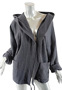 James Perse JAMES PERSE Grey COTTON Hooded Sweatshirt Jacket w/ Front Pockets