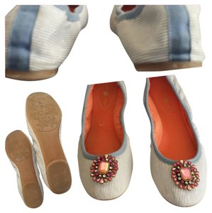 Lindsay Phillips Denim blue and white pin stripes with coral lining inside and top border Flats