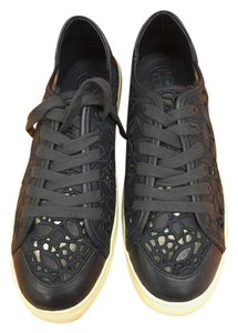Tory Burch New In Box Leather Lace Sneakers Navy Flats