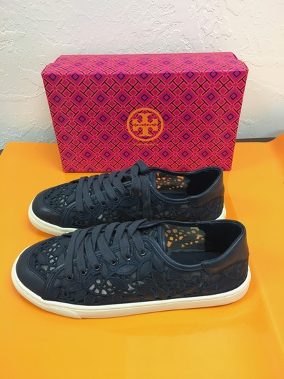 Tory Burch New In Box Leather Lace Sneakers Navy Flats Image 1
