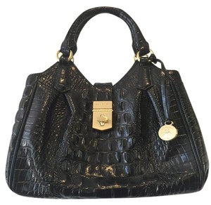 Brahmin Day To Evening Crossbody Embossed Leather Like New Satchel in Black