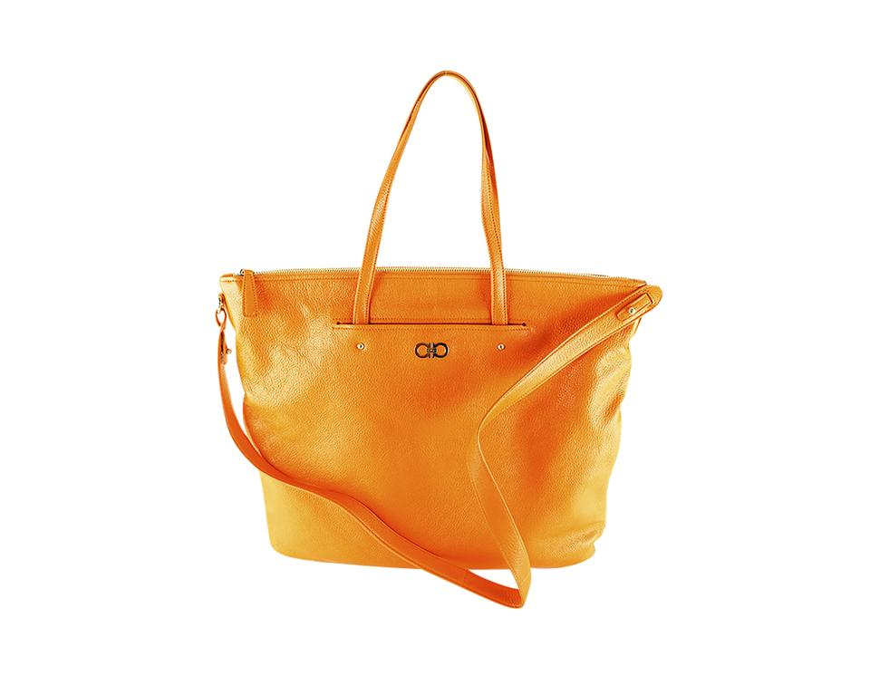 9929d674d709 Salvatore Ferragamo Leather Womens Bags Origami Tote in Orange Image 0 ...
