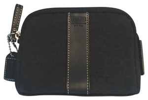 Coach Black Leather Jacquard Signature C Pouch