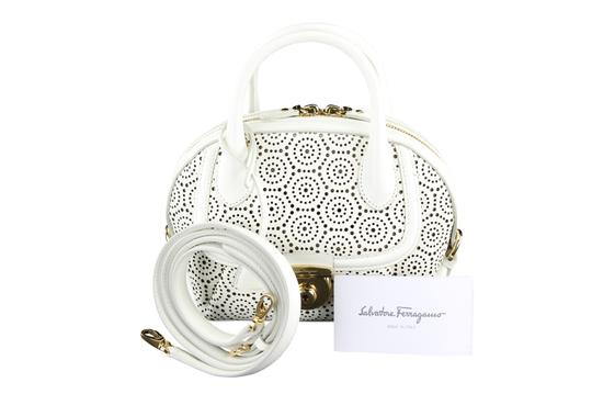 Salvatore Ferragamo Leather Patterned Womens Bags Tote in White