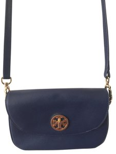 Tory Burch Blue Gold Hardware Saffiano Leather Cross Body Bag