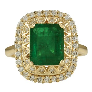 Fashion Strada 3.11 Carat Natural Emerald 14K Yellow Gold Diamond Ring