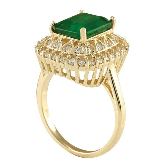 Fashion Strada 3.11 Carat Natural Emerald 14K Yellow Gold Diamond Ring Image 2