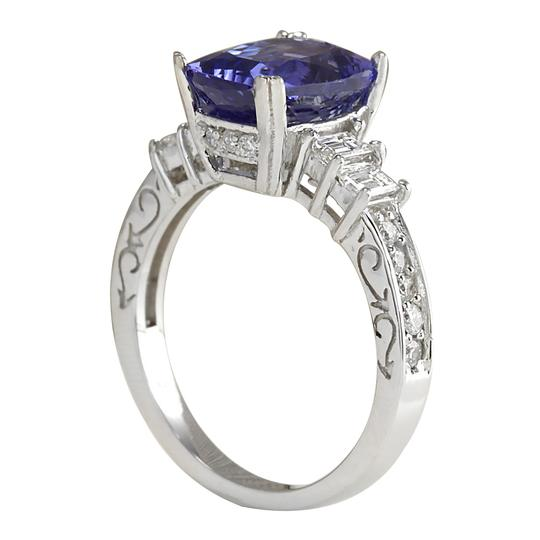 Fashion Strada 3.75 Carat Natural Tanzanite 14K White Gold Diamond Ring Image 2