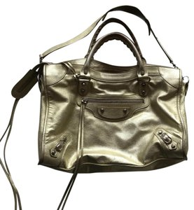 Baleciaga Leather City Satchel in Metallic Gold/ Champagne