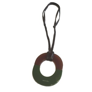 Hermès green & brown resin necklace