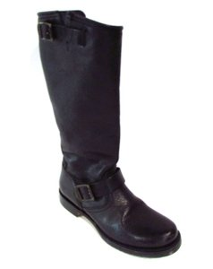 Frye Knee Casual Leather Buckle Black Boots