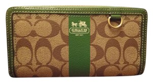 Coach COACH Logo Zip-Around Wallet with Green Trim & Interior