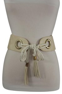 Alwaystyle4you Women Hip Waist Off White Wide Faux Leather Tie Fashion Belt Fringes
