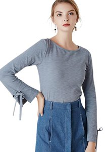 MASKED QUEEN Women's Casual/Daily Simple Spring T-shirtSolid Round Neck Long Sleeve T Shirt Light gray