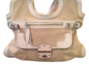 Rafe Leather/Canvas Silver Hardware Tote in White Leather and Cream Canvas