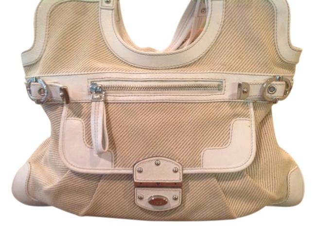 Item - White Leather and Cream Canvas Tote