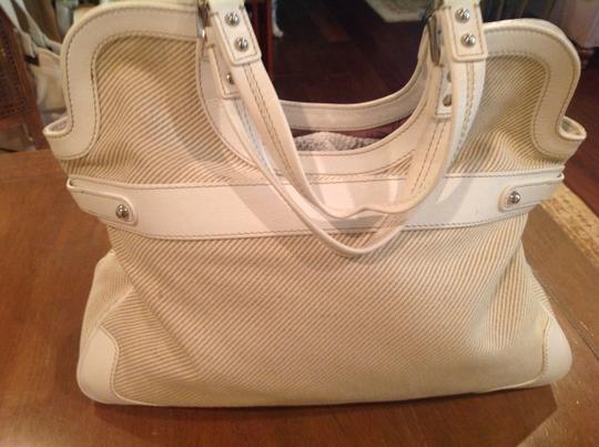 Rafe Leather/Canvas Silver Hardware Tote in White Leather and Cream Canvas Image 1