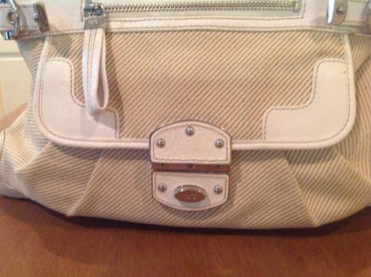 Rafe Leather/Canvas Silver Hardware Tote in White Leather and Cream Canvas Image 2