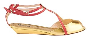 Jerome C. Rousseau Leather Gold & Red Sandals