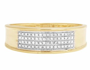 Jewelry Unlimited 10K Yellow Gold Real Diamond Men's Band Ring 1/4 CT 12MM