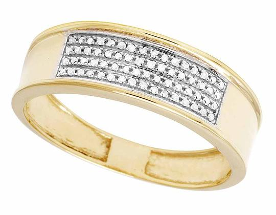 Jewelry Unlimited 10K Yellow Gold Real Diamond Men's Band Ring 1/4 CT 12MM Image 2