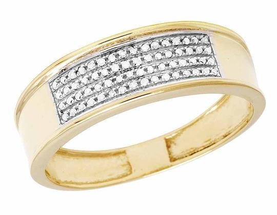 Jewelry Unlimited 10K Yellow Gold Real Diamond Men's Band Ring 1/4 CT 12MM Image 3