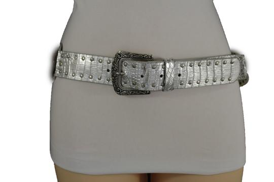 Alwaystyle4you Women Belt Silver Faux Leather Faux Leather Western Buckle Ethnic Image 2