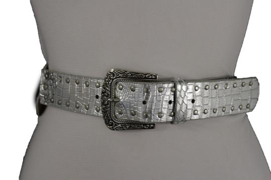 Alwaystyle4you Women Belt Silver Faux Leather Faux Leather Western Buckle Ethnic Image 4