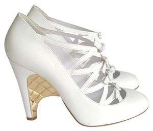 Chanel Wedge Leather Patent Leather Round Toe Wedge White Pumps