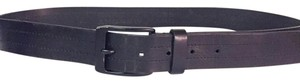 Andrew Marc black leather enamel buckle blacked out Andrew Marc Marc New York belt unisex