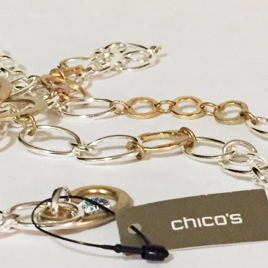 Chico's metal fashion waist belt by chicos with hook closure two tone metal Image 2
