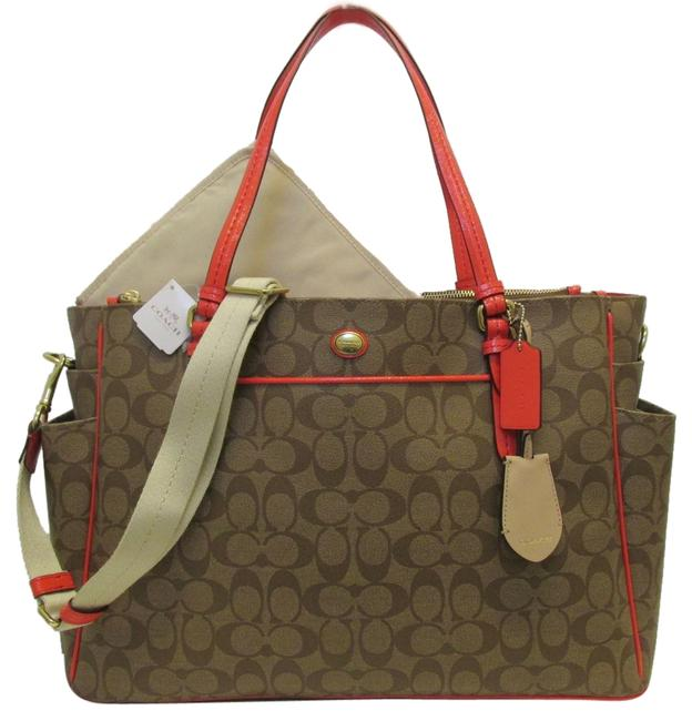 Item - Peyton Signature Multifuct F25741 Khaki & Persimmon Pvc Patent Leather Diaper Bag